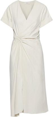 A.L.C. Edie Wrap-effect Linen-blend Midi Dress