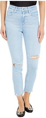 Paige Hoxton Slim Crop in Sunkissed Destructed w/ Worn Away Hem (Sunkissed Destructed w/ Worn Away Hem) Women's Jeans