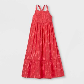Cat & Jack Girs' Heart Print Smocked Woven Maxi Seeveess Dress - Cat & JackTM