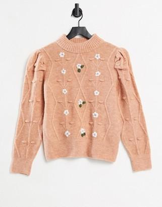Pimkie flower embroidered jumper in pink