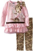 Disney Girls 2-6X Toddler 2 Piece Minnie Mouse Cheetah Print Legging Set