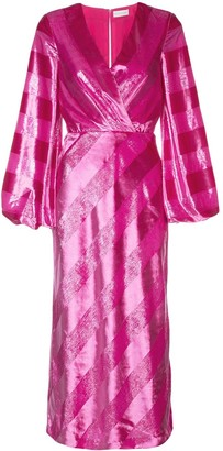 Rebecca Vallance Striped V-Neck Midi Dress