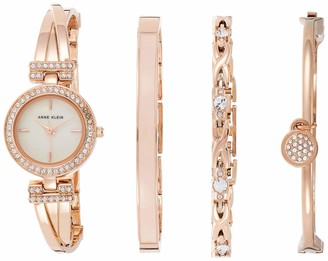 Anne Klein Women's Swarovski Crystal-Accented Rose Gold-Tone Watch and Bracelet Set AK/2238RGST