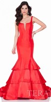 Terani Couture Plunging Back Tiered Mermaid Gown