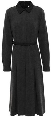 Mikael Aghal Belted Pleated Cotton-blend Dress
