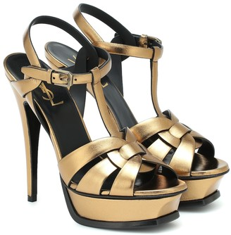 Saint Laurent Tribute 135 leather platform sandals