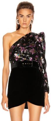Self-Portrait One Shoulder Sequin Top in Midnight Bloom Sequin | FWRD