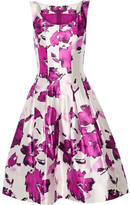 Oscar de la Renta Pleated Floral-print Silk Dress - Magenta