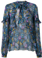 Anna Sui garden flower ruffle chiffon top