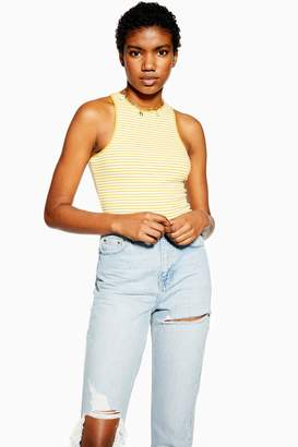 Topshop Womens Yellow Stripe Racer Vest - Yellow