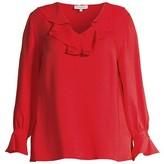 Thumbnail for your product : Lafayette 148 New York, Plus Size Sana Silk Ruffle Neck Blouse