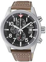 Citizen Men's Quartz Stainless Steel and Leather Casual Watch, Color:Brown (Model: AN3620-01H)
