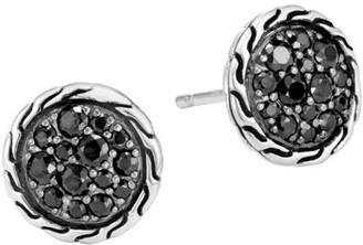 John Hardy Classic Chain Silver, Black Spinel & Black Diamond Stud Earrings