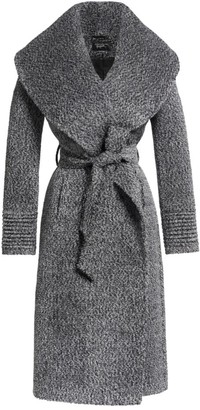Sentaler Boucle Long Wide Shawl Collar Wrap Coat