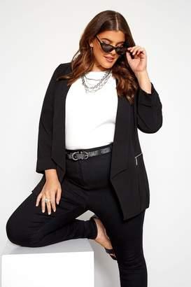 Womens Yours Curve Zip Bubble Jacket - Black