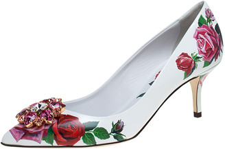 Dolce & Gabbana White Leather Jeweled Floral Print Pointed Toe Pumps Size 40