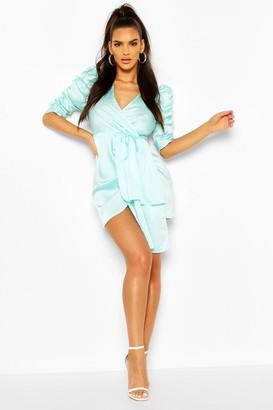 boohoo Satin Plunge Puff Sleeve Drape Mini Dress