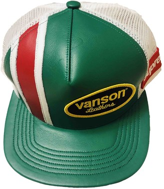 Supreme Green Leather Hats & pull on hats