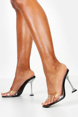 boohoo Interest Heel Peeptoe Clear Mules