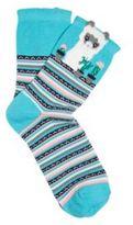 F&F Intarsia Llama Ankle Socks, Women's