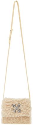Off-White Beige Shearling Jitney 0.7 Bag