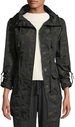 Blanc Noir Camo-Print Hooded Anorak Jacket