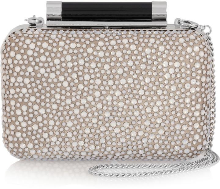 Diane von Furstenberg Tonda crystal-embellished satin and leather clutch