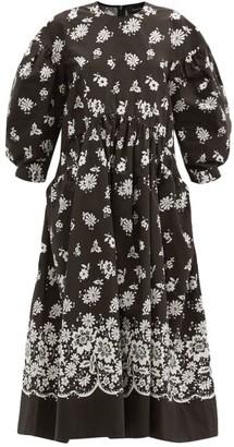 Simone Rocha Balloon-sleeve Lace-print Cotton-poplin Dress - Black White
