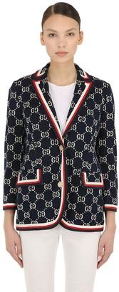 Gucci Gg Supreme Intarsia Cotton Jersey Blazer