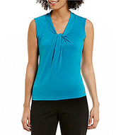 Calvin Klein V-Neck Sleeveless Solid Matte Jersey Shell