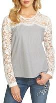 CeCe Women's Pinstripe Lace Yoke Blouse