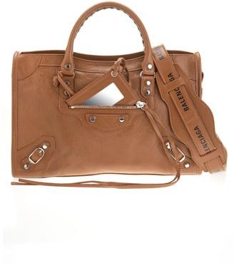 Balenciaga Camel Classic City S Logo Belt Tote Bag
