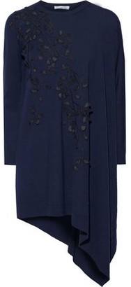Oscar de la Renta Asymmetric Appliqued Embroidered Wool Tunic