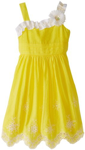 Rare Editions Big Girls' Dress with Corsage Shoulder and Embroidered Hem