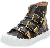 Chloé Kyle Studded High-Top Leather Sneaker