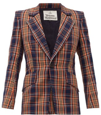 Vivienne Westwood Lou Lou Single-breasted Tartan Cotton-twill Jacket - Womens - Navy Multi