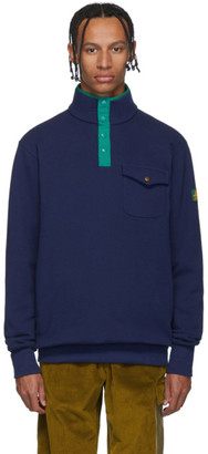 Leon Aime Dore Navy Terry Half-Button Sweatshirt