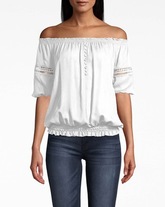 Nicole Miller Off The Shoulder Lace Trim Smocked Top