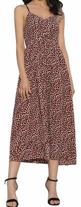 Liumilac Vneck Pleated Dress for Women Leopard Empire Waist A-Line Cocktail Dress -2 XL