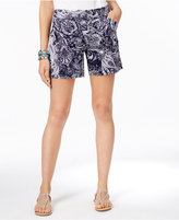 INC International Concepts Paisley-Print Curvy Shorts, Created for Macy's