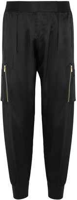 ATM Anthony Thomas Melillo Black cropped silk cargo trousers