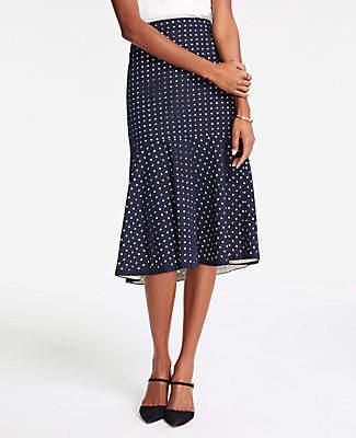 Ann Taylor Eyelet Flounce Midi Skirt