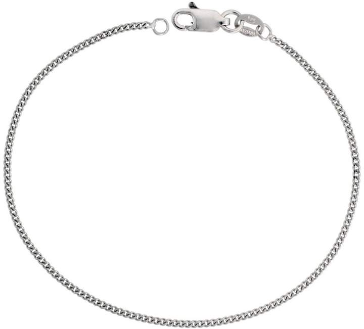 Sabrina Silver Sterling Silver Thin CURB CHAIN Necklace 1.3mm fine Rhodium finish, 16 inch