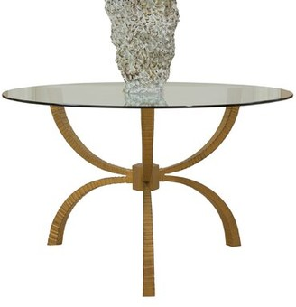 """Global Views Teton Dining Table Size: 29"""" H x 60"""" W x 60"""" D, Table Base Color: Bronze"""