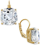 Kate Spade Gold-Tone Crystal Square Leverback Earrings