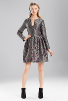 Josie Natori Ornamental Jacquard Long Sleeve Dress