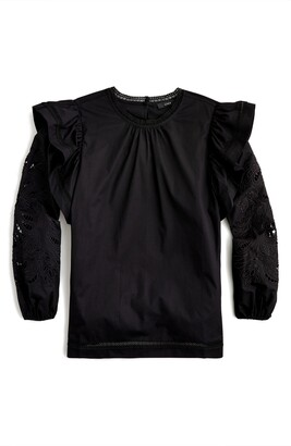 J.Crew Embroidered Flutter Sleeve Shirt
