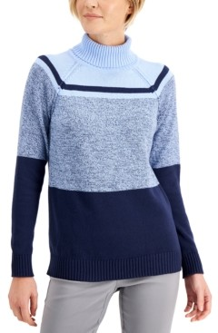 Karen Scott Cotton Colorblocked Turtleneck Sweater, Created for Macy's