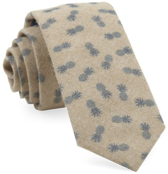 The Tie BarThe Tie Bar Slate Blue Brushed Cotton Pineapples Tie