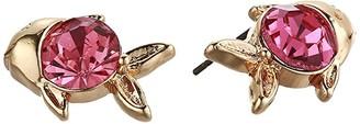 Betsey Johnson Fish Stud Earrings (Pink) Earring